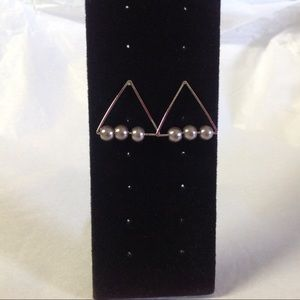 International Concept Triangle Silver Tone Earring